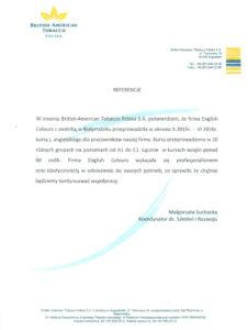 List referencyjny dla szkoły językowej English Colours w Białymstoku